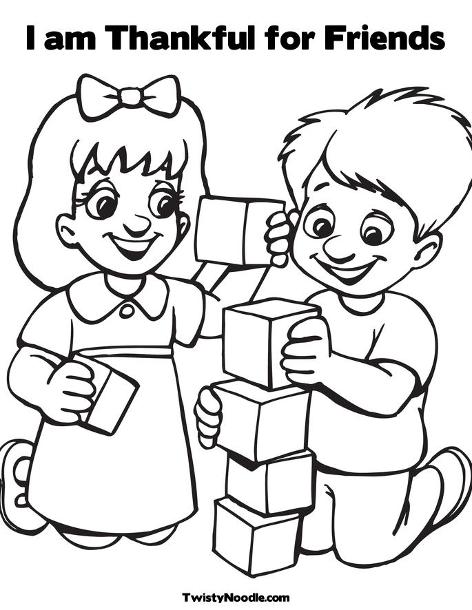 am thankful for friends coloring page kids playing blocks twisty