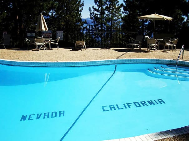 At This Lake Tahoe Hotel Pool, You Can Literally Swim All The Way To Nevada From California