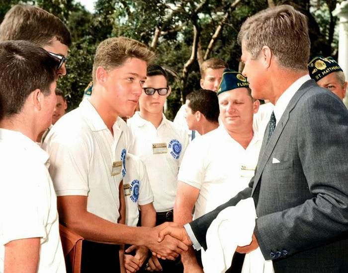 Young Bill Clinton Shaking Hands With President John F. Kennedy In The Rose Garden Of The White House. July 24, 1963