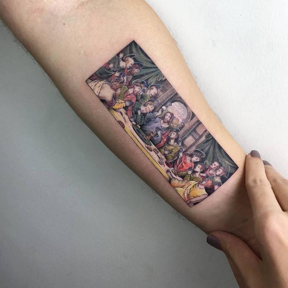 13 изящных татуировок созданных по мотивам знаменитых картин