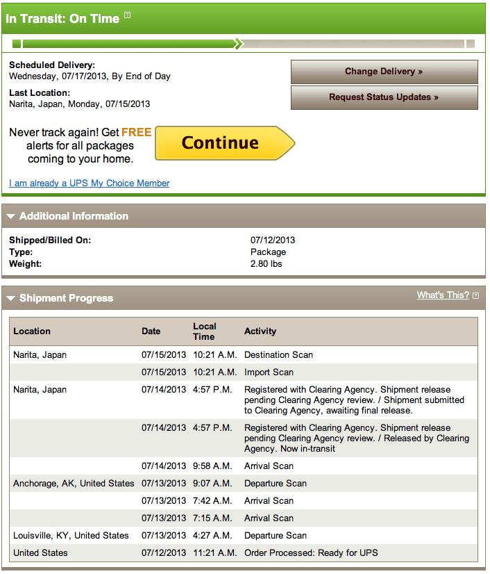 UPS Worldwide Saverで、およそ4日で日本に!