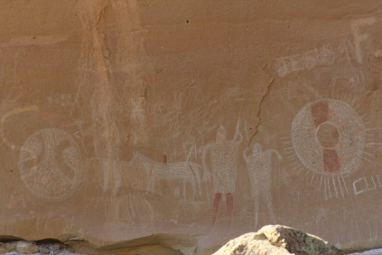 Graffiti, old and new at the Sego Pictographs.