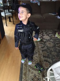 We just could not decide what we wanted to be on Halloween, Policeman or Ninja...