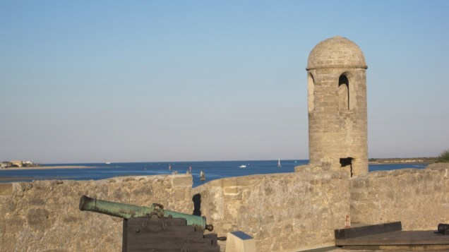 One of the guard towers looking out to the water.