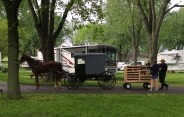 "The Amish ""bread truck"" delivering to the campground."