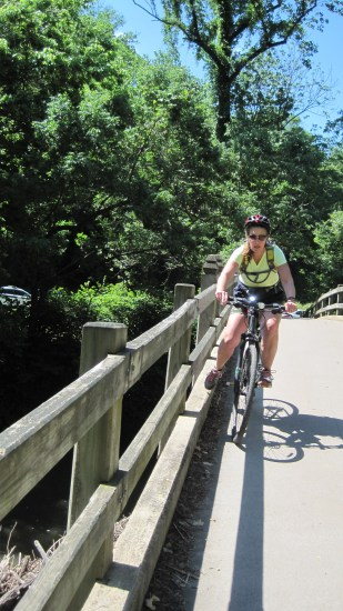 Jeanne putting the pedal to the metal here along the Rock Creek Pkwy.