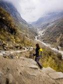 Mandy striding ahead towards Deurali