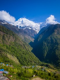 Machapuchare from Chhromrong with some of the village in the foreground