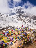 Prayer flags and memorials to those who died on this mountain