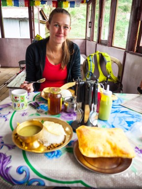 Mandy with dal bhat and gurung (fried) bread