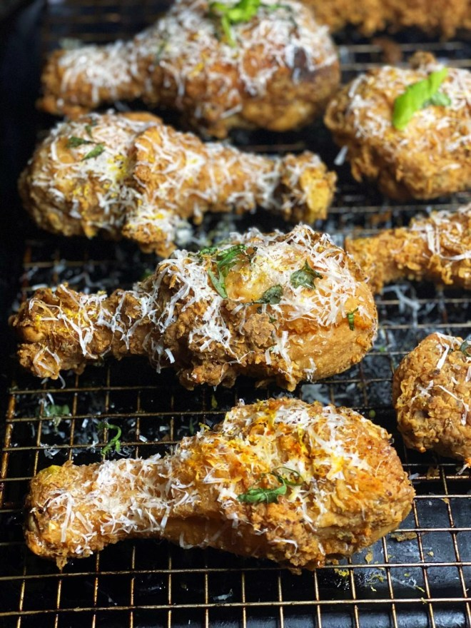 Lemon Parmesan Fried Chicken Drumsticks