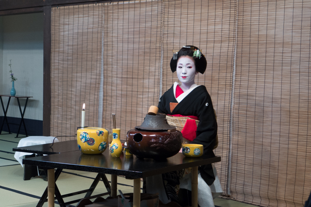 Scene of a traditional geisha tea ceremony
