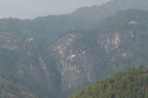 The Taktsang Palphug Monastery (also known as Tiger's Nest), a prominent Himalayan Buddhist sacred site and temple complex, located in the cliffside of the upper Paro valley, in Bhutan.  We will be hiking to the monastery when we return to Paro.