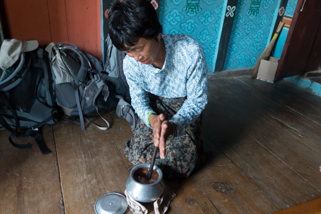 Jigme's mother-in-law is making Suma - butter tea.  We didn't need to use chapstick the rest of the day.