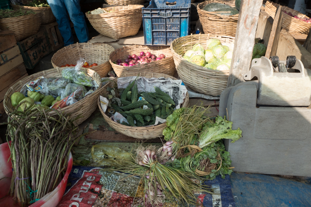 Offering of vegatables at a small market.