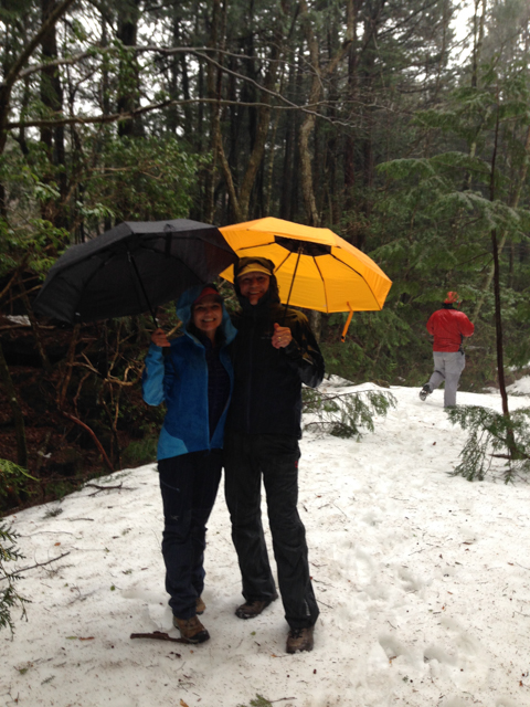 First time that we've ever hiked with umbrellas.  They worked quite well.