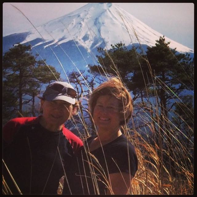The lovely Gina and Luba in the shadow of Mt Fuji