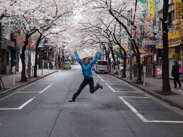 Jumping for joy on Cherry Blossom Lane.