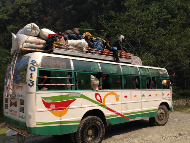 The local bus - it was typical to see the buses this full.