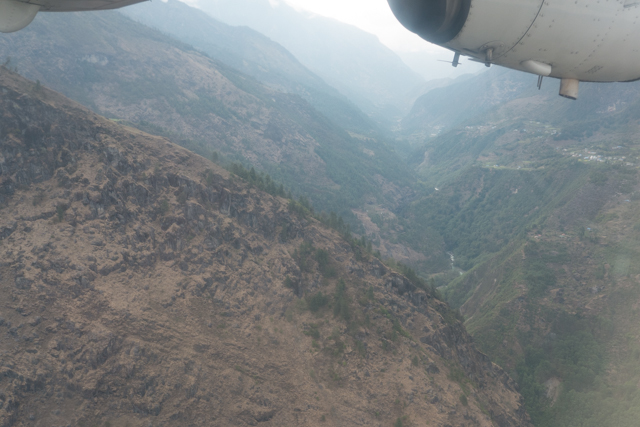 Flying up the mountain valleys on our approach to Lukla.