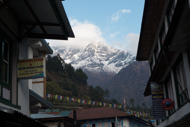 "A ""six-thousander"" (meters) from the streets of Lukla."