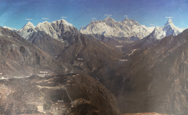 This is a picture of a poster of the region.  Namche Bazar  is at the bottom toward the left.  Mt. Everest is at the top toward the right.