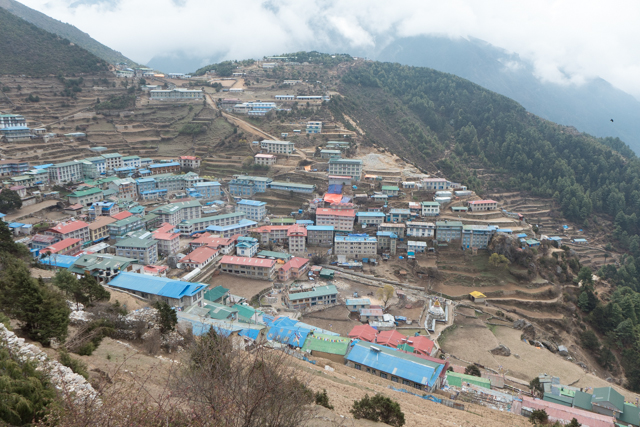 We arrive at Namche Bazar - the traditional launching place for Everest and Everest Base Camp. Bazar means market. People travel from all over Nepal, India and Tibet (China) to sell their wares on Friday and Saturday.