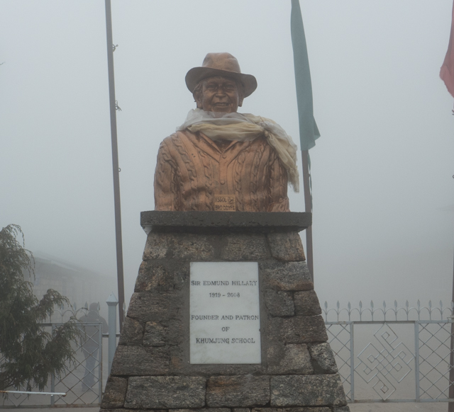 A statute of Sir Edmund Hillary, who with Tenzing Norgay (his Sherpa), became the first documented men to summit Mt. Everest. Hillary was on a British expedition, but was actually a Kiwi (born and died in New Zealand). Following his ascent of Everest, Hillary devoted much of his life to helping the Sherpa people of Nepal through the Himalayan Trust, which he founded. Through his efforts, many schools and hospitals were built in Nepal.