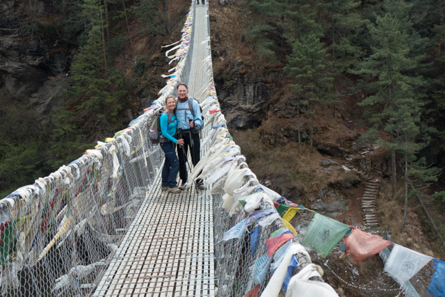 "Crossing the most famous high suspension bridge. Though a bit scary, the bridge was a welcome respite from the 3,000-foot climb up ""Namche Hill""... and I mean straight up."