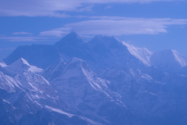 Our first glimpse of the Everest peak.  Everest is the peak on the left.