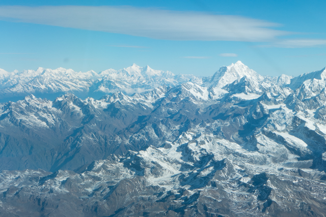 A broader view of the Himalayan peaks higher foothills.