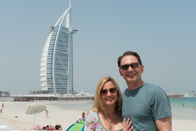 The famous Burj Al Arab, featuring 202 two story suites.  The location is somewhat removed from downtown Dubai.