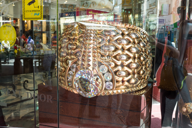 Supposedly the largest ring in the wold, the Najmat Taiba or Star of Taiba is estimated to cost $3 million, is on display at the Deira Gold Souk.  The 21-carat ring weighs almost 141 pounds, and is studded with 11 pounds of precious stones.