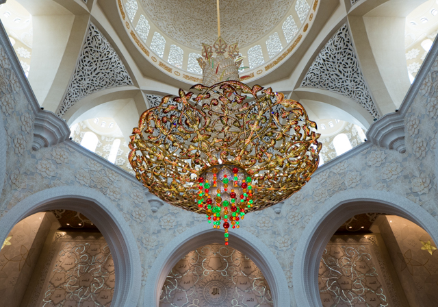 There are seven crystal chandeliers made by Faustig (Munich, Germany) situated inside the halls and foyers. The largest (located in the main prayer hall and considered one of the world's largest in a mosque and is weighing approximately 12 tons.