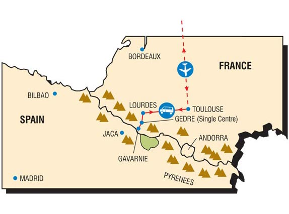The Pyrenees (French and Spanish) run along the border between France and Spain.