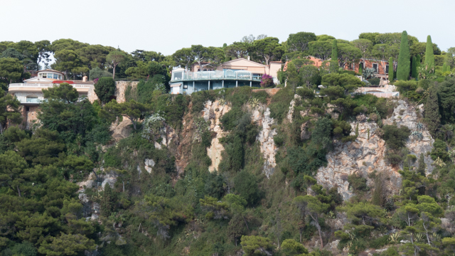 Cliff perched houses.