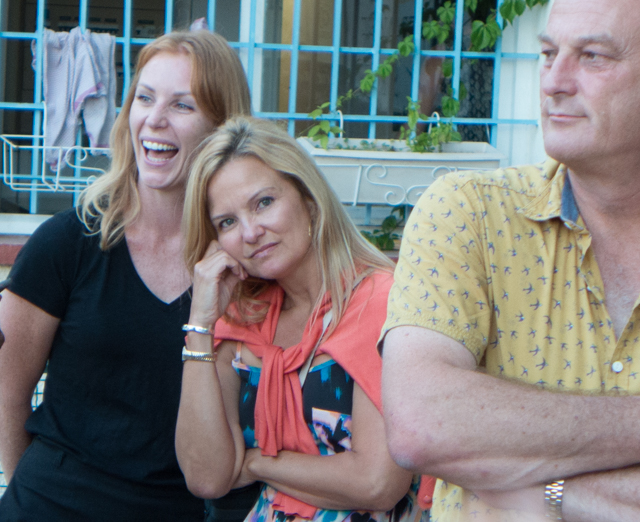 Nicola, Shauna and Chris watching different groups play pétanque.
