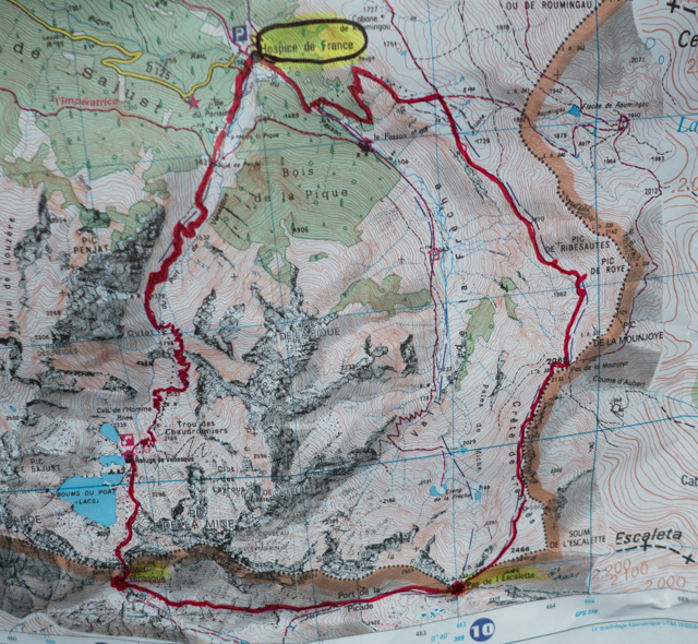 Our loop hike from Hospice de France into Spain.