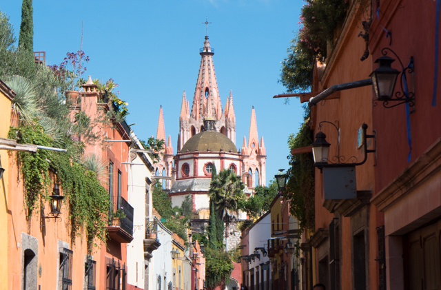 The spires of the Cathedral of San Miguel de Allende.