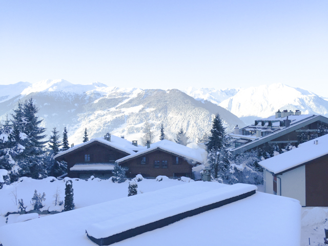 Verbier rooftops were loaded with snow.