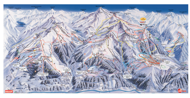 Verbier ski map.  Difficult to get from one valley to another.
