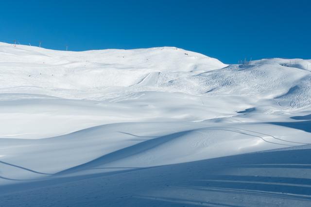 With big billowy snowfields all around.