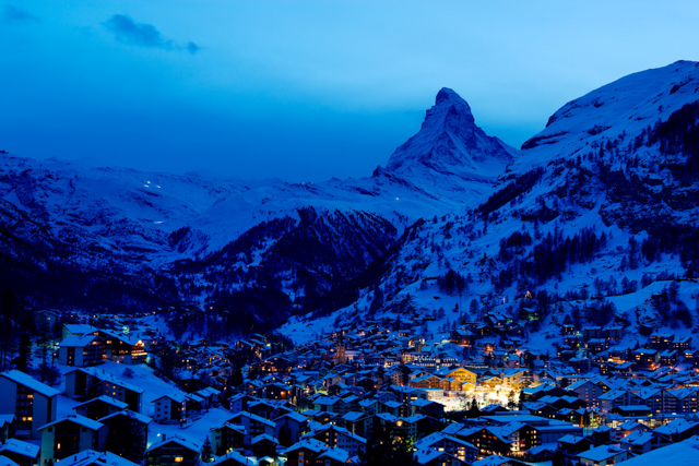 Zermatt at dusk (looking southward) with the Matterhorn in the background.