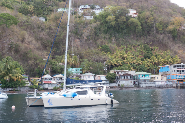 Unbelievable....as we motor to a mooring in Roseau, Dominica's capital, we find Caribbean Dream - which we owned 2004 - 2009.