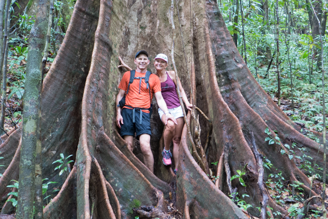 We felt small next to this buttress-root tree.