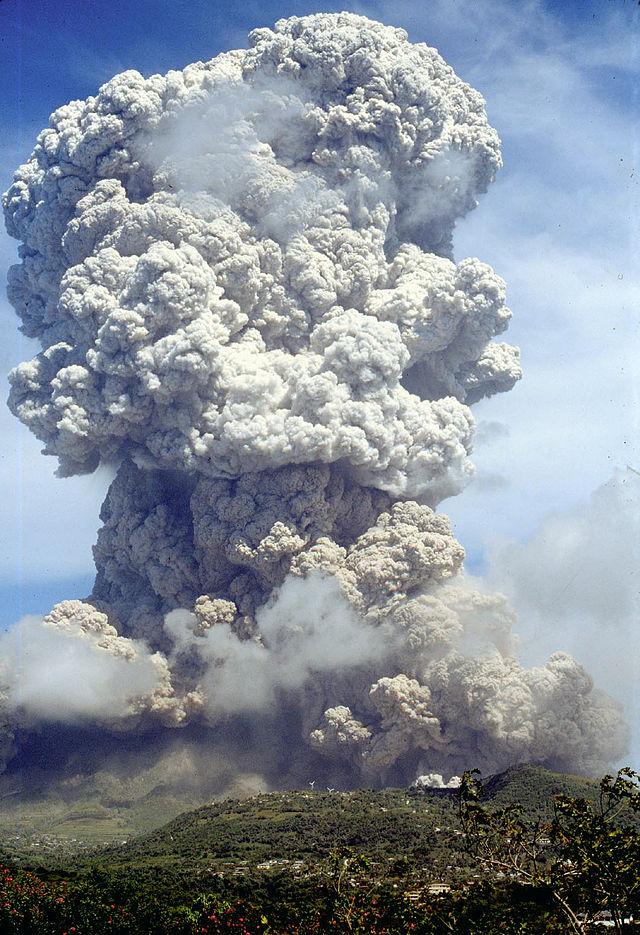 Soufriere Hills volcano erupting in 1995.