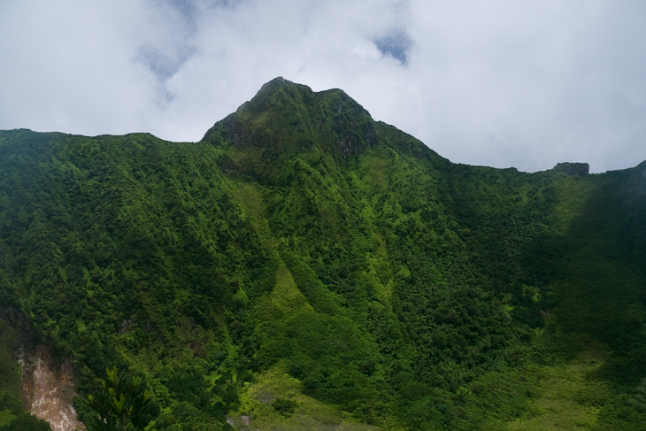 View of Mt. Liamuiga from the top of our hike on the crater rim.