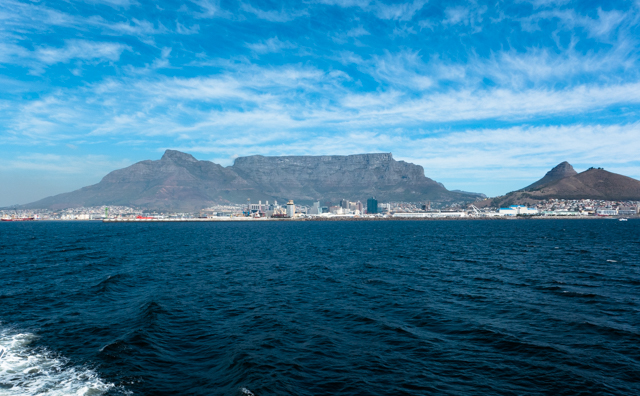Great view of Cape Town from the ferry to Robben Island, where Nelson Mandela was imprisoned.