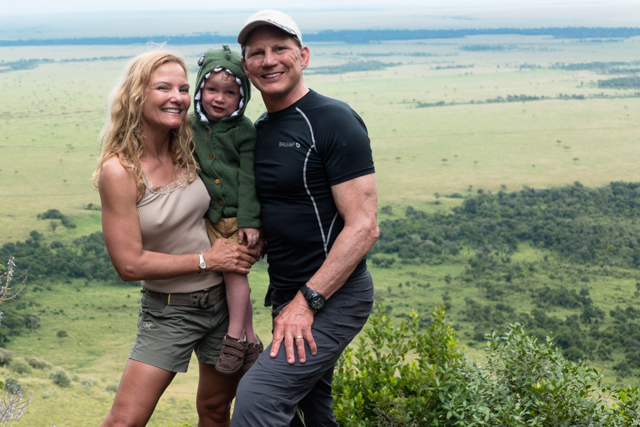 "We finally catch up to our cute little godson Rhys (aka the ""Croc"") after hiking up to a point overlooking the Mara."