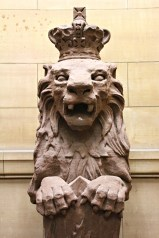 One of the lion sculptures inside Old Town Hall.